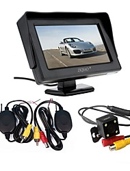 cheap -ZIQIAO 3 in 1 Wireless Transmitter Receiver Kit Car Waterproof Backup Rear View Cameras With 4.3 HD Color Monitor Auto Parking
