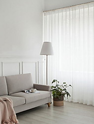 cheap -Sheer Curtains Shades Living Room Solid Colored Cotton / Polyester Yarn Dyed