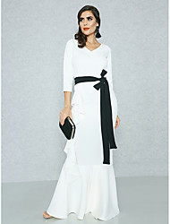 cheap -Women's Plus Size Party / Going out Street chic / Sophisticated Maxi Slim Bodycon / Sheath / Swing Dress - Solid Colored High Waist V Neck Spring White XL XXL XXXL