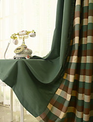 cheap -Curtains Drapes Living Room Lattice / Contemporary Cotton / Polyester Printed