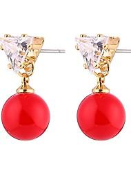 cheap -Women's Cubic Zirconia Pearl Stud Earrings Ladies Sweet Fashion Pearl Zircon Shell Earrings Jewelry Red For Formal Prom Promise