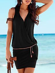 cheap -Women's Beach Basic Mini Sheath Dress - Solid Colored Black, Wrap V Neck Summer White Black Wine M L XL / Sexy