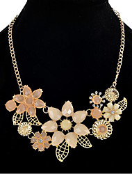 cheap -Women's Statement Necklace Flower Flower Shape Statement Ladies Party Vintage Resin Rhinestone Alloy Pink 45 cm Necklace Jewelry For Wedding Masquerade Engagement Party Prom Date Vacation
