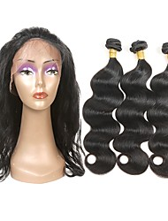 cheap -3 Bundles with Closure Indian Hair Wavy Human Hair One Pack Solution Hair Weft with Closure Black Human Hair Weaves Soft Best Quality New Arrival Human Hair Extensions / 8A