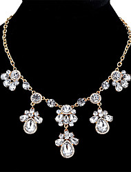 cheap -Women's Cubic Zirconia Statement Necklace Drop Ladies Sweet Fashion Chunky Crystal Zircon Alloy Gold Silver 45+5.4 cm Necklace Jewelry For Date Bar