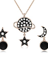 cheap -Women's Cubic Zirconia Jewelry Set Drop Earrings Pendant Necklace Mismatched Moon Star Ladies Fashion Zircon Rose Gold Plated Earrings Jewelry Black For Daily Evening Party