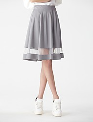 cheap -Women's Daily / Going out Basic / Street chic A Line Skirts - Solid Colored Tulle High Waist White Blue Gray XS S M