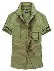 cheap -Men's Solid Color Hiking Shirt / Button Down Shirts Short Sleeve Outdoor Breathable Moisture Wicking Quick Dry Multi Pocket Shirt Top Summer Nylon POLY Army Green Outdoor Exercise Multisport