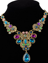cheap -Women's Crystal Statement Necklace faceter Ladies Luxury Colorful Indian Synthetic Gemstones Alloy Black Rainbow Necklace Jewelry For Party