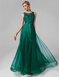 cheap -A-Line Scoop Neck Floor Length Tulle / Beaded Lace Elegant / Illusion Detail Prom / Formal Evening Dress with Beading / Appliques 2020