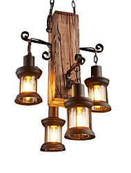 cheap -4-Light 45 cm Mini Style Pendant Light Wood / Bamboo Industrial Rustic / Lodge / Country 110-120V / 220-240V