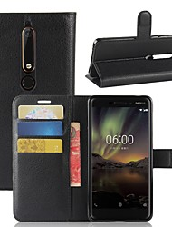 cheap -Case For Nokia Nokia 9 / Nokia 8 / Nokia 7 Wallet / Card Holder / Flip Full Body Cases Solid Colored Hard PU Leather / Nokia 6