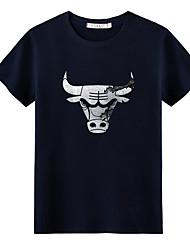 abordables -Tee-shirt Homme, Couleur Pleine Col Arrondi Gris / Manches Courtes