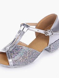 cheap -Girls' Dance Shoes Latin Shoes / Ballroom Shoes / Line Dance Heel Low Heel Customizable Gold / Silver / Sparkling Glitter / Performance / Practice / EU39