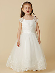 cheap -A-Line Floor Length Flower Girl Dress - Lace / Tulle Short Sleeve Scoop Neck with Buttons / Sash / Ribbon / First Communion