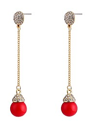 cheap -Women's Cubic Zirconia Pearl tiny diamond Drop Earrings Long Statement Ladies Sweet Pearl Zircon Earrings Jewelry Red For Party Going out