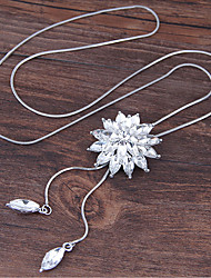 cheap -Women's Pendant Necklace Flower European Sweet Fashion Alloy White Blue 70 cm Necklace Jewelry For Party