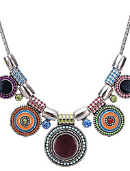 cheap -Women's Cubic Zirconia Choker Necklace Ladies Bohemian Vintage African Zircon Resin Alloy Rainbow Rose Red 44 cm Necklace Jewelry For Evening Party Going out