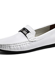 cheap -Men's Leather Shoes Leather Spring &  Fall Business / British Loafers & Slip-Ons Walking Shoes Wear Proof Black / White / Blue / Party & Evening / Party & Evening