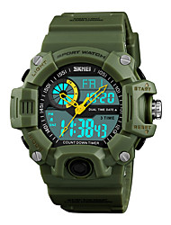 cheap -SKMEI Men's Sport Watch Japanese Digital 50 m Water Resistant / Water Proof Alarm Chronograph PU Band Analog-Digital Casual Fashion Black / Green - Red Green Blue One Year Battery Life / Stopwatch