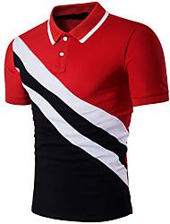 cheap -Men's Daily Active Slim Polo - Color Block Patchwork Shirt Collar Black / Short Sleeve / Summer