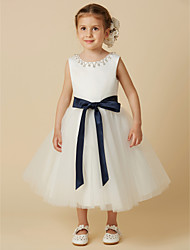 cheap -Princess Tea Length Wedding / First Communion Flower Girl Dresses - Satin / Tulle Sleeveless Jewel Neck with Sash / Ribbon / Beading