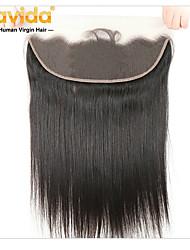 cheap -Yavida Malaysian Hair 4x13 Closure Straight Free Part Swiss Lace Virgin Human Hair All With Baby Hair / Soft / Silky Christmas Gifts / For Black Women