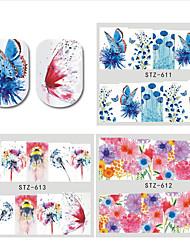 Недорогие -30 pcs Наклейка для ногтей Цветы Передача бумаги