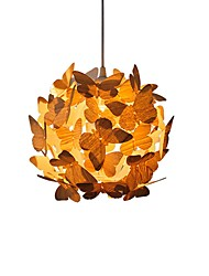 cheap -1-Light 26.5 cm Pendant Light Metal Wood / Bamboo Novelty Artistic / Vintage 220V