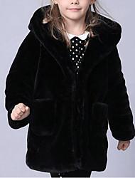 abordables -Enfants Fille Couleur Pleine Manches Longues Longue Fausse Fourrure Veste & Manteau Noir