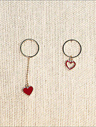 cheap -Women's Drop Earrings Mismatched Long Heart Ladies Korean Sweet 18K Gold Plated Earrings Jewelry Red For Gift Daily