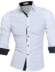 cheap -Men's Daily Work Business / Basic Plus Size Slim Shirt - Solid Colored Button Down Collar Black / Long Sleeve / Spring / Fall