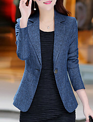 cheap -Women's Daily / Work Basic / Street chic Spring / Fall Plus Size Regular Blazer, Solid Colored Notch Lapel Long Sleeve Polyester / Others Blue