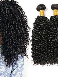 Недорогие -4 Связки Бразильские волосы Кудрявый Натуральные волосы Человека ткет Волосы Накладки из натуральных волос Естественный цвет Ткет человеческих волос Удлинитель Горячая распродажа / 8A