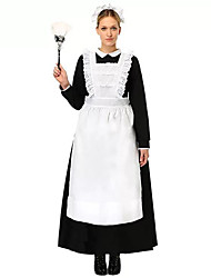 cheap -Maid Costume Outfits Bib Apron Dress Career Costumes Women's Cotton Costume Black with White Vintage Cosplay Long Sleeve Tea Length / Headwear / Headwear