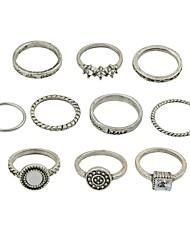 cheap -Women's Ring Set 6pcs Gold Silver Imitation Tourmaline Alloy Circle Ladies Basic Fashion Daily Date Jewelry
