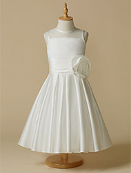 cheap -A-Line Tea Length Wedding / First Communion Flower Girl Dresses - Taffeta Sleeveless Jewel Neck with Flower