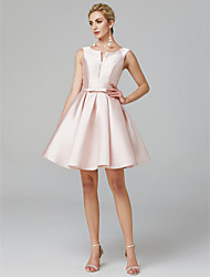 cheap -A-Line Minimalist Elegant Cute Homecoming Cocktail Party Dress V Wire Sleeveless Knee Length Satin with Bow(s) Pleats 2021