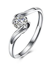 cheap -Open Cuff Ring Diamond Geometrical Silver S925 Sterling Silver Ladies Fashion Adjustable / Women's / Cubic Zirconia