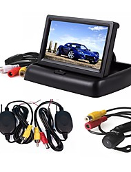 cheap -ZIQIAO 3 in 1 Wireless Parking Camera Monitor Video System Folding Foldable Car Monitor With Rear View Camera Wireless Kit