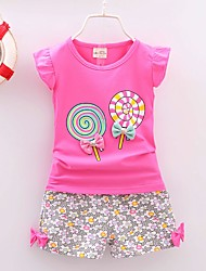 cheap -Toddler Girls' Vintage Daily Holiday Floral Print Sleeveless Regular Clothing Set Yellow