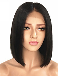 cheap -Remy Human Hair Unprocessed Human Hair Lace Front Wig Bob Middle Part Kardashian style Malaysian Hair Straight Black Wig 130% Density with Baby Hair Natural Hairline Unprocessed Bleached Knots Women's