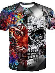 cheap -Men's Halloween Daily Basic Cotton T-shirt - Animal / Skull Print Round Neck Gray / Short Sleeve / Summer