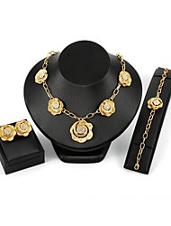 cheap -Women's Cubic Zirconia Jewelry Set Stud Earrings Pendant Necklace Floral / Botanicals Flower Statement Ladies Zircon Gold Plated Earrings Jewelry Gold For Wedding Evening Party / Chain Necklace