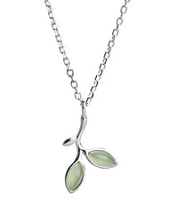 cheap -Women's Pendant Necklace Leaf Ladies Simple Sweet Fashion Gemstone S925 Sterling Silver Light Green 44.5 cm Necklace Jewelry For Gift Daily