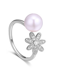 cheap -Women's Band Ring wrap ring Pearl Gold Silver Pearl Zircon Copper Ladies Sweet Fashion Party Birthday Jewelry Floral / Botanicals Flower
