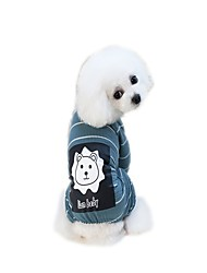 cheap -Dogs Jumpsuit Dress T-shirts Lion Dog Clothes Green Blue Gray Costume Padded Fabric Cotton / Polyester Cartoon Slogan Stylish Sweet Style S M L XL XXL