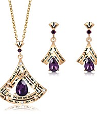 cheap -Women's Cubic Zirconia Amethyst Jewelry Set Drop Earrings Pendant Necklace Ladies Zircon Gold Plated Earrings Jewelry Gold For Wedding Evening Party