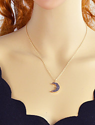 cheap -Tourmaline Synthetic Tourmaline Pendant Necklace Moon Crescent Moon Ladies Alloy Gold Silver 55 cm Necklace Jewelry For Party / Evening School