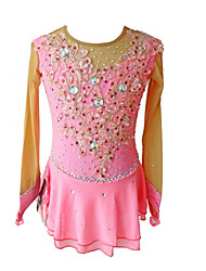 cheap -SKMEI Figure Skating Dress Women's Girls' Ice Skating Dress Pink Flower Spandex Competition Skating Wear Sequin Long Sleeve Figure Skating